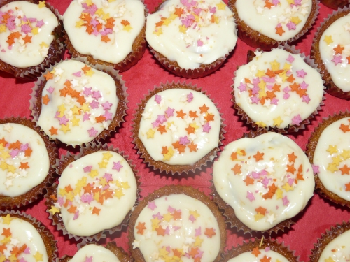 Carrot and orange cupcakes with festive stars......